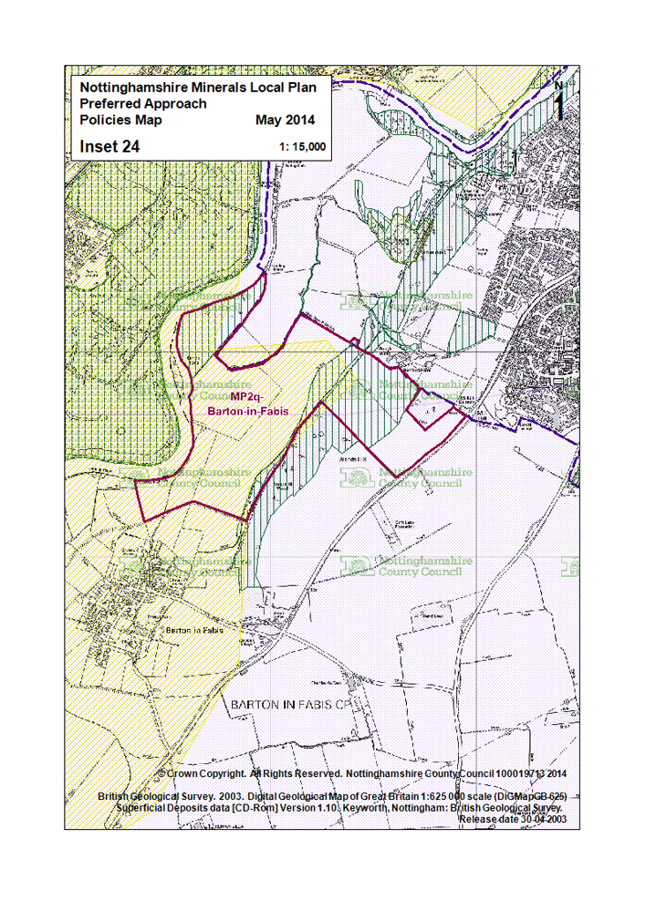Proposed area of sand and gravel extraction, Nottinghamshire County Council Mineral Plan